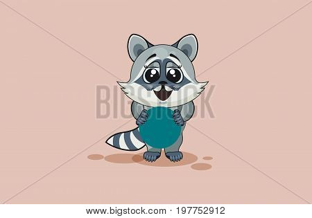 Vector Stock Illustration isolated Emoji character cartoon raccoon cub holds circular design element sticker emoticon happy emotion for site, info graphic, video, animation, websites, e-mails, reports