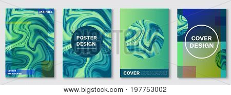 Marble posters set, liquid shapes, waves, fluid pattern, hipster color background, turquoise cover in trendy minimalistic geometric style, stone textures, vector fashion wallpaper, banner, magazine