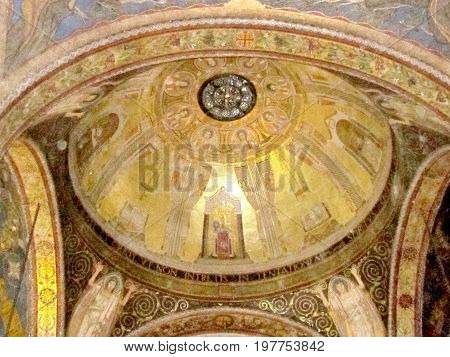 Jerusalem, Israel - December 2, 2012: Dome of the Church of All Nations in Gethsemane garden.