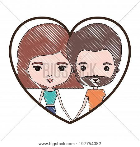 heart shape portrait with color crayon silhouette caricature couple of him with short brown hair and beard and her with pants and wavy short hairstyle in light brown vector illustration