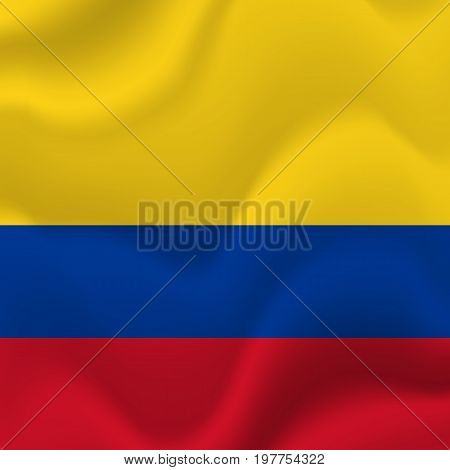 Colombia flag background. Waving flag. Vector illustration.