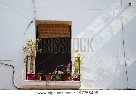 Urban house façade. Marbella city, Costa del Sol, Andalusia, Spain. Photo taken - 26 july 2017.