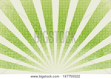 horizontal vector illustration of grunge background of green color. divergent rays. modeling of vintage printed materials.