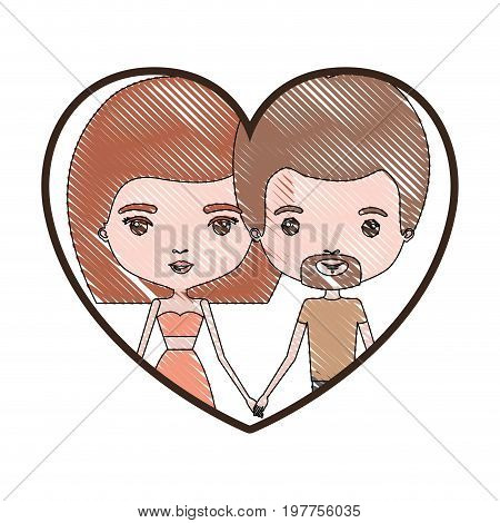 heart shape portrait with color crayon silhouette caricature couple of him with short light brown hair and van dyke beard and her with skirt and mushroom hairstyle vector illustration