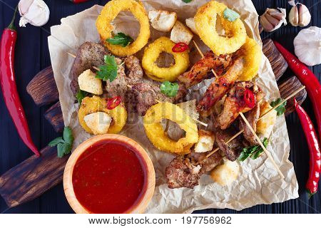 Grilled Meats Assortment, Onion Rings In Breadcrumbs, Rusks Deco