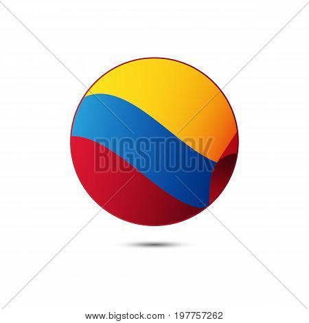 Colombia flag button with shadow on a white background. Vector illustration.