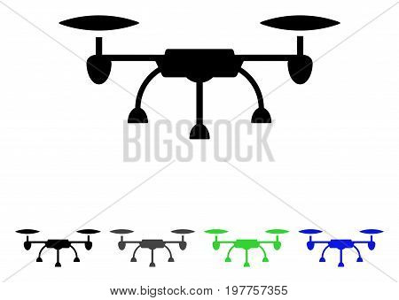 Air Drone flat vector pictogram. Colored air drone gray, black, blue, green pictogram versions. Flat icon style for application design.