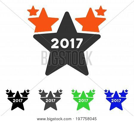 2017 Star Hit Parade flat vector pictograph. Colored 2017 star hit parade gray, black, blue, green icon variants. Flat icon style for web design.