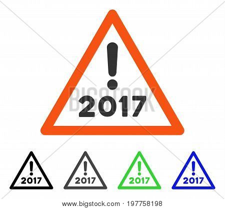 2017 Warning flat vector pictograph. Colored 2017 warning gray, black, blue, green icon versions. Flat icon style for web design.