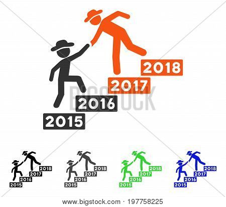 Annual Gentlemen Stairs Help flat vector icon. Colored annual gentlemen stairs help gray, black, blue, green pictogram variants. Flat icon style for application design.