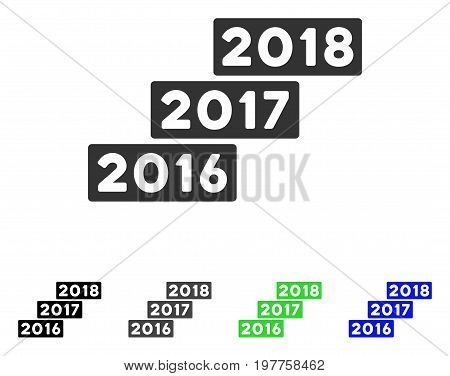 Levels From 2016 To 2018 flat vector illustration. Colored levels from 2016 to 2018 gray, black, blue, green icon versions. Flat icon style for application design.