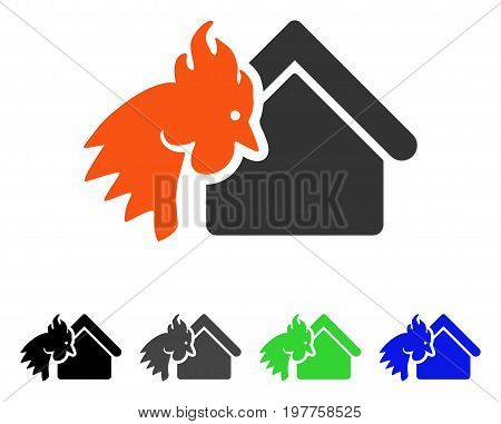 Red Rooster Realty Disaster flat vector illustration. Colored red rooster realty disaster gray, black, blue, green pictogram variants. Flat icon style for web design.