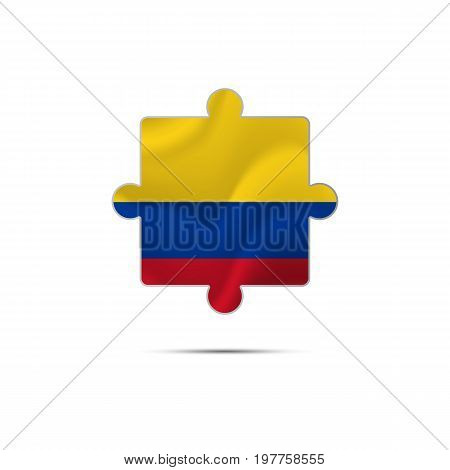 Isolated piece of puzzle with the Colombia flag. Vector illustration.