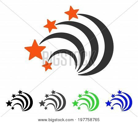 Star Tail flat vector pictograph. Colored star tail gray, black, blue, green icon variants. Flat icon style for application design.