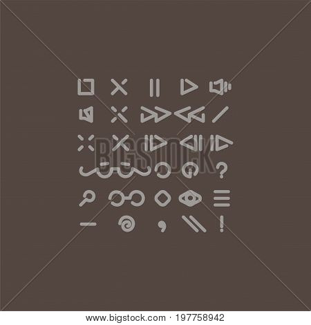 Vector thin line icon set. Button for flash player or music video player. For infographics and web.