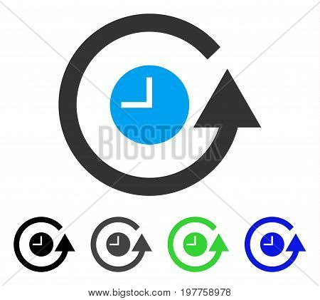 Restore Clock flat vector pictograph. Colored restore clock gray, black, blue, green pictogram versions. Flat icon style for web design.