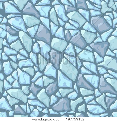 Paving tile floor covering pavement slabs brick wall stone old vintage seamless pattern background texture. Vector closeup beautiful square horizontal illustration top view gray blue turquoise rock
