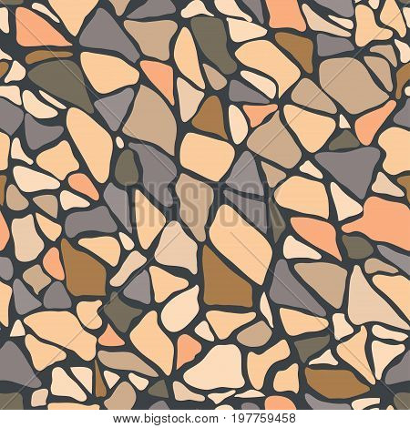 Paving tile floor covering pavement slabs brick wall stone old vintage seamless pattern background texture. Vector closeup beautiful square horizontal illustration top view gray beige ocher rock