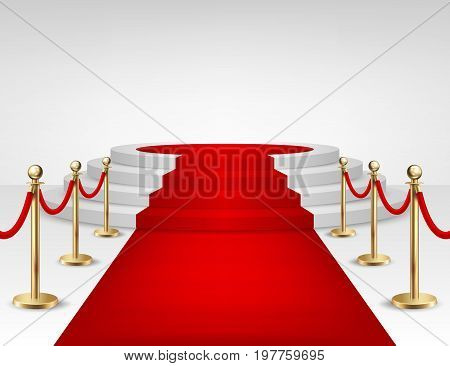 Realistic vector red event carpet, gold barriers and white stairs isolated on white background. Design template, clipart. EPS10. illustration.