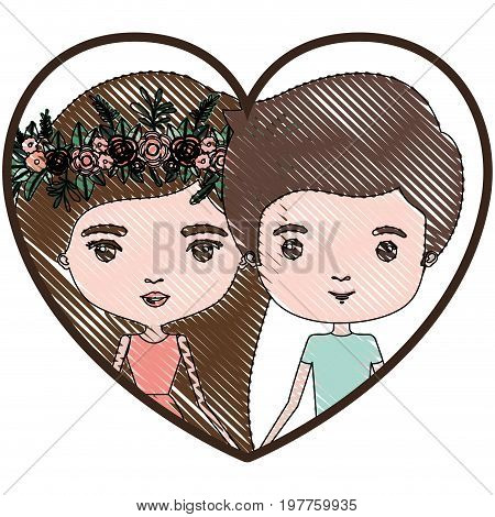 heart shape portrait with color crayon silhouette caricature couple and both with brown hair and her in dress with long straight hair with floral crown and him in casual clothes vector illustration