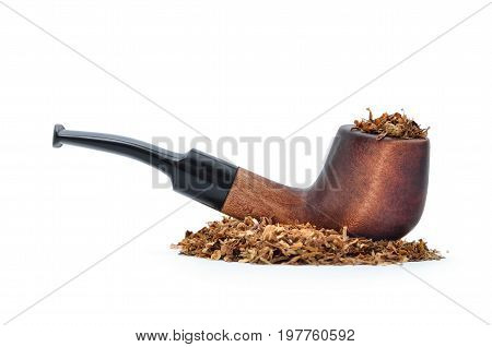 Smoking Pipe And Tobacco Isolated On White Background