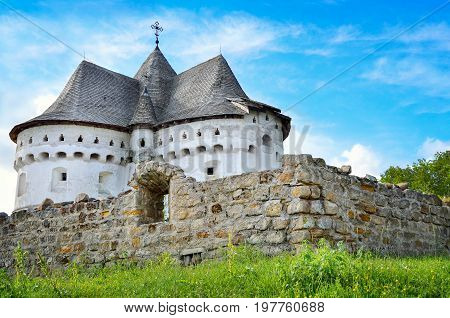 Ancient, Defensive Church Against Of The Blue Sky In Ukraine