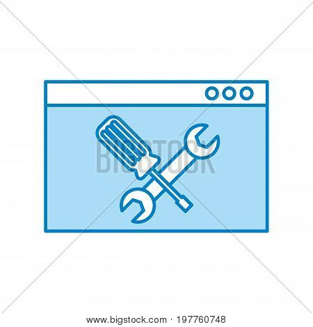 template computer with tools vector illustration design