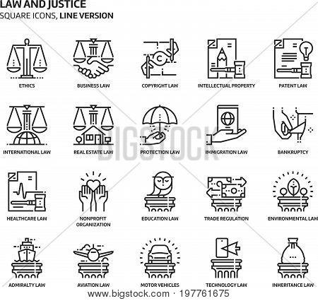 Law And Justice, Square Icon Set