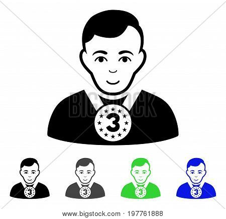 3rd Prizer Sportsman flat vector pictogram. Colored 3rd prizer sportsman gray, black, blue, green pictogram versions. Flat icon style for web design.