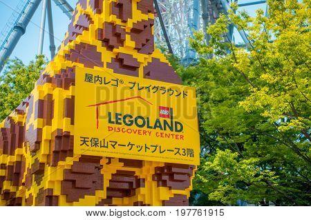 OSAKA, JAPAN - JULY 18, 2017: Beautiful giraffe made with legos at Tempozan Ferris Wheel in Osaka, Japan. It is located in Tempozan Harbor Village, next to Osaka Aquarium Kaiyukan.