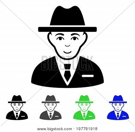 Agent flat vector pictogram. Colored agent gray, black, blue, green icon variants. Flat icon style for application design.