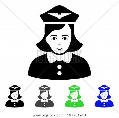 Airline Stewardess flat vector pictograph. Colored airline stewardess gray, black, blue, green pictogram variants. Flat icon style for web design.