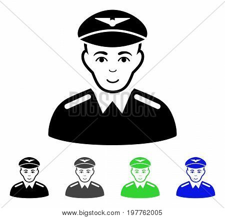 Aviator flat vector pictogram. Colored aviator gray, black, blue, green icon versions. Flat icon style for application design.