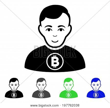 Bitcoin Man flat vector icon. Colored bitcoin man gray, black, blue, green icon variants. Flat icon style for application design.