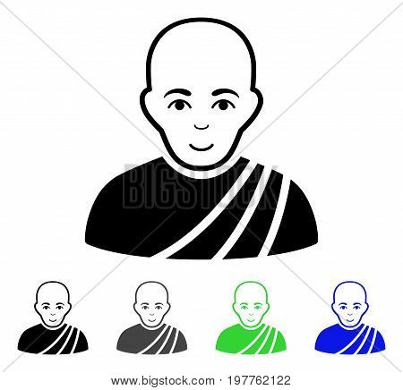 Buddhist Monk flat vector illustration. Colored buddhist monk gray, black, blue, green icon versions. Flat icon style for application design.