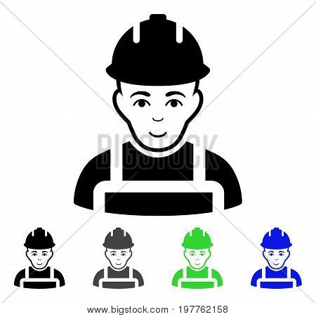 Builder flat vector pictogram. Colored builder gray, black, blue, green pictogram variants. Flat icon style for web design.