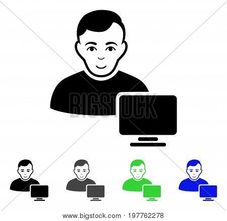 Computer Administrator flat vector pictograph. Colored computer administrator gray, black, blue, green pictogram variants. Flat icon style for web design.