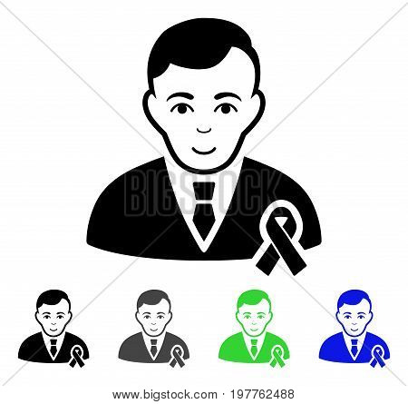 Gentleman With Mourning Ribbon flat vector illustration. Colored gentleman with mourning ribbon gray, black, blue, green pictogram versions. Flat icon style for graphic design.