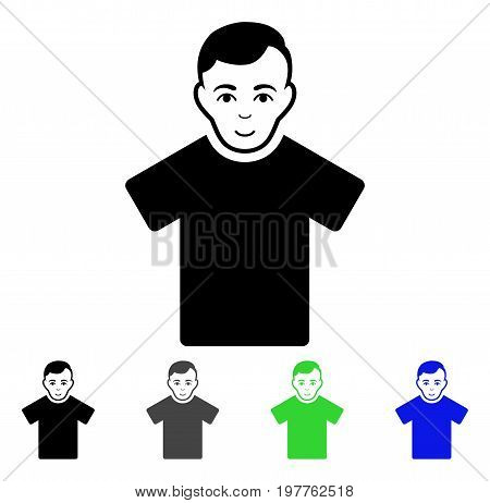 Guy flat vector pictogram. Colored guy gray, black, blue, green icon variants. Flat icon style for graphic design.