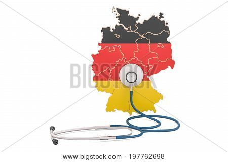 German map with stethoscope national health care concept 3D rendering