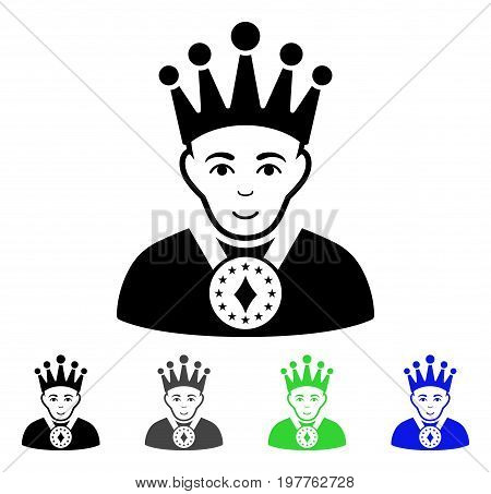 King flat vector illustration. Colored king gray, black, blue, green icon versions. Flat icon style for web design.