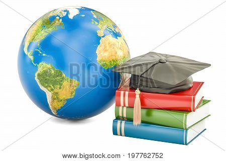 Global education concept Earth with books and graduate cap. 3D rendering isolated on white background