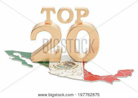 Mexican Top 20 concept 3D rendering isolated on white background