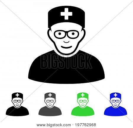 Medical Specialist flat vector illustration. Colored medical specialist gray, black, blue, green pictogram versions. Flat icon style for graphic design.