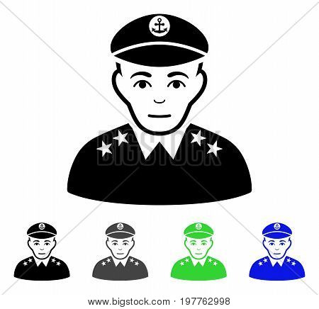 Military Captain flat vector icon. Colored military captain gray, black, blue, green icon versions. Flat icon style for application design.