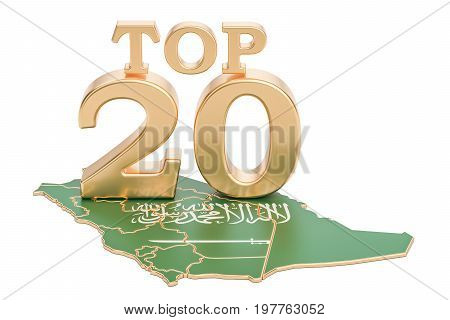 Saudi Arabia Top 20 concept 3D rendering isolated on white background