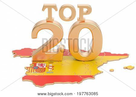 Spanish Top 20 concept 3D rendering isolated on white background