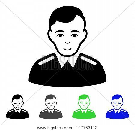 Officer flat vector illustration. Colored officer gray, black, blue, green pictogram variants. Flat icon style for web design.