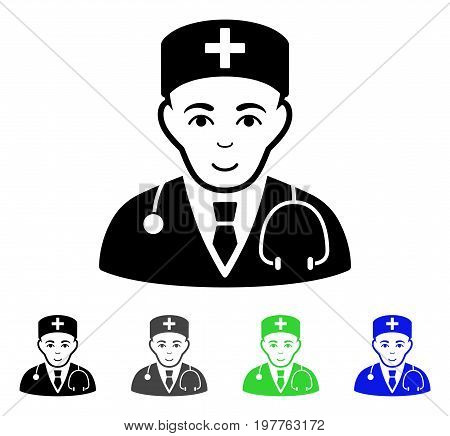 Physician flat vector icon. Colored physician gray, black, blue, green icon versions. Flat icon style for graphic design.