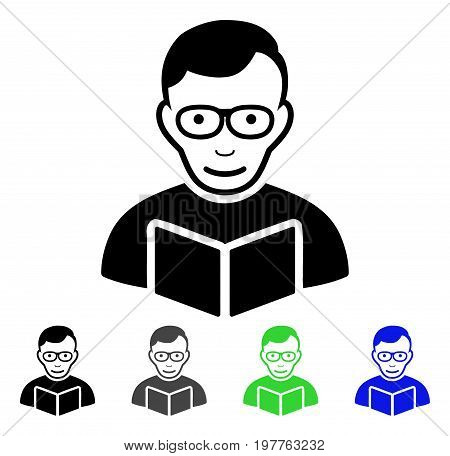 Reader flat vector pictograph. Colored reader gray, black, blue, green icon versions. Flat icon style for web design.